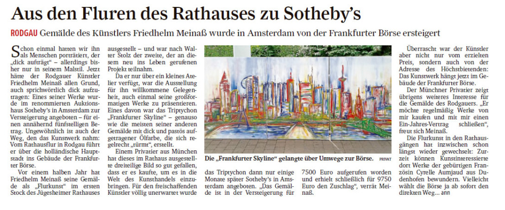 Frankfurter Rundschau: Bericht Meinaß, Bild Frankfurter Skyline