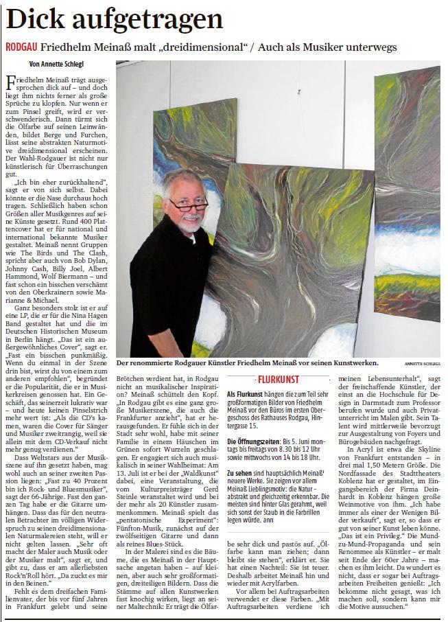 Porträt Künstler Friedhelm Meinaß in Frankfurter Rundschau, Mai 2014